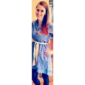 Anthropologie Blue polka dot collared dress XS